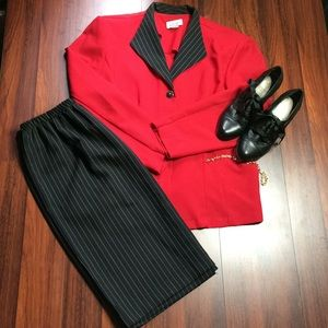 Dresses & Skirts - Red &Black Pin Strip Suit G1